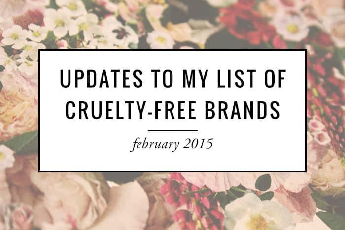 Updates to my cruelty-free brands list!